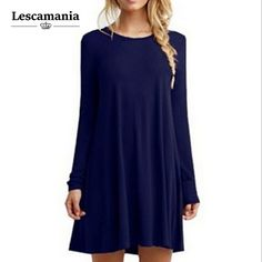 b5abf741e709a8 Lescamania 2016 New Arrival Autunm Winter Women Fashion Casual Vestidos  Dresses Loose Solid O Neck Knee Length Dress-in Dresses from Women s  Clothing ...