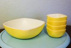Hey, I found this really awesome Etsy listing at https://www.etsy.com/listing/499115579/vintage-pyrex-yellow-hostess-bowl-set