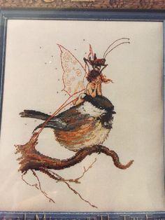 The Tit's Fairy Bird Nimue Fee Main Cross Stitch Pattern Fantasy Mesange #nimuefeemain #crossstitchpatternforpattern