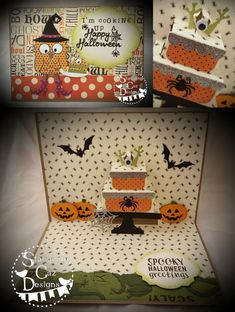 Caz Counsell using the Pop it Ups Cake Pop-up, Poppy the Owl, Props 9, Props 8, Halloween Charms, Halloween Scene die sets and Halloween clear stamps by Karen Burniston for Elizabeth Craft Designs.