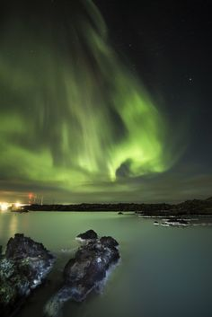 By Arnar kristjansson Northern lights over the Blue Lagoon