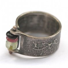 "Oxidized Silver ""Branded"" Ring with Various Gemstone Beads by Eric Silva"