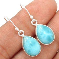 Larimar - Dominican Republic 925 Sterling Silver Earrings Jewelry SE115499 | eBay