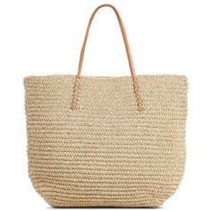 Women's Solid Packable Straw Tote Natural ($23) ❤ liked on Polyvore featuring bags, handbags, tote bags, target tote bags, straw tote, man bag, purse tote and polka dot tote