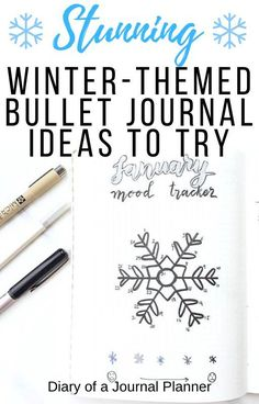 All the very best ideas you must try out for an incredible winter-themed bullet journal! Find everything super creative mood trackers to minimalist weekly spreads. Bullet Journal Contents, Bullet Journal Tracker, Bullet Journal Hacks, Bullet Journal Themes, Bullet Journal Layout, Bullet Journal Inspiration, Journal Ideas, Bullet Journals, Bullet Journal For Beginners