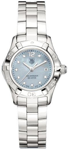 WAF1419.BA0824  TAG HEUER AQUARACER 2000  Blue Mother of Pearl Diamond Dial- 10 Full Cut Diamonds Set on Dial (.07ct) - Top Wesselton (F-G) Color Grade - Certified VS Superior Diamond Clarity - Battery Operated Quartz Movement