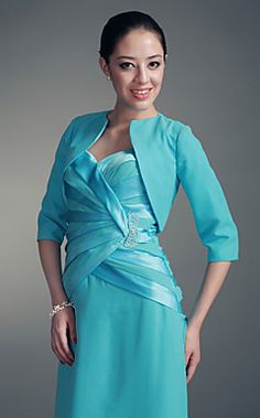 Half Sleeves Chiffon Satin Special Occasion Jacket. Prom, diff. color =)
