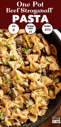 delicious One Pot Beef Stroganoff Pasta that is super is easy to make and a perfect meal for the whole family to dig in and enjoy. Slimming World and Weight Watchers friendly Weight Watchers Pasta, Ground Beef Stroganoff, Slimming World Beef Recipes, Slimming World Beef Stroganoff, Weight Watcher Ground Beef Recipe, One Pot Dinners, Easy Dinners, Easy Pasta Recipes, Ww Recipes