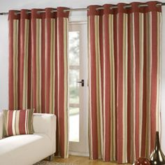 Padstow Red Eyelet Curtains