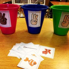 Idea for phoneme segmentation practice ... stretch out the sounds on each picture card and match to the correct bucket.