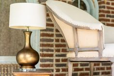 Cleopatra Table Lamp & Taylor Tub chair by Forty West designs  http://www.fortywestdesigns.com/default.asp  #metallic #tubchair #fortywest