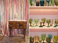 Love the backdrop and look at all those colored goblets, don't they look familiar...yep we've got a ton of those at Violet Vintage!