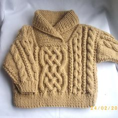 Liam cross-neck cable sweater for baby or toddler PDF knitting pattern | PurplePup - Patterns on ArtFire $5.75