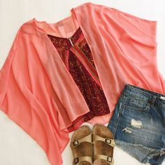 """▪️ SALE ▪️ Coral Sheer Kimono Sheer cocoon kimono in bright coral with draped, open front and slight hi-lo hem.  Open size, will fit XS-L  NWT, never worn!  Boutique brand.  ▪️SALE! $30 marked down to $25!▪️  Measurements laying flat: Shoulder to shoulder: approx. 22"""" Top of shoulder to bottom hem: 23"""" Charm City Tops"""