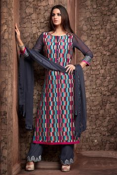 Grey multicoloured georgette admirable kameez in boat neck -SL4087 | salwar kameez online shopping in India | #sensuous #spectacular #wonderful #awesome #tremendous #chic