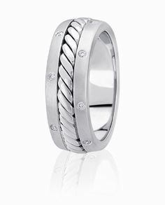 Cable Center Wedding Ring Accented By Flush Set Diamond Edges