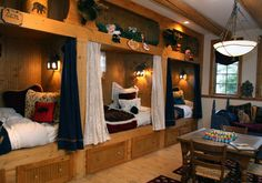 The fun grandkids room includes plenty of sleeping pods with twin beds. They included drawers under the beds and windows inside the pods -- a bona fide kid pleaser. Cabin Homes, Log Homes, Bunk Rooms, Bedrooms, Custom Bunk Beds, Sleeping Pods, Cabana, Kids Bedroom, Bedroom Ideas