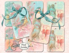 Gift Tags Large Birds with Vintage Roses and by MaBellePapeterie, $3.00