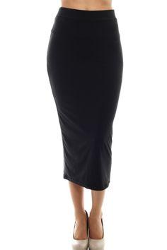 Solid High Waisted Bodycon Midi Skirt