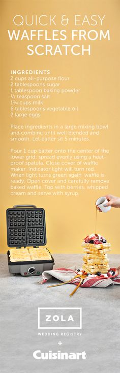 Quick and easy waffles: this is an easy, basic recipe that could be adaptable to whatever you want to add in. pastry flour, added toasted pecans and cut the recipe in half which yielded 4 individual waffles. Uses one bowl. What's For Breakfast, Breakfast Dishes, Breakfast Recipes, Food Trucks, Brunch, Waffle Maker Recipes, Easy Waffle Recipe, Toasted Pecans, Basic Recipe