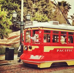Mickey driving the Trolley