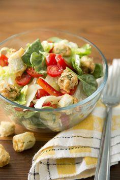 Paula Deen Garden Salad with Fried Okra Croutons