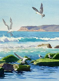 Point Loma Rocks Waves And Seagulls by Mary Helmreich - Point Loma Rocks Waves And Seagulls Painting - Point Loma Rocks Waves And Seagulls Fine Art Prints and Posters for Sale Watercolor Ocean, Watercolor Landscape, Landscape Art, Landscape Paintings, Seascape Paintings, Watercolor Paintings, Watercolours, Arte Peculiar, Beach Art