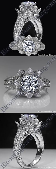 BloomingBeautyRing.com (213) 222-8868 - Small Hand-Engraved Blooming Beauty Flower Ring - Handmade by our very own master jewelers!