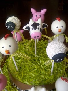 farm animal cake pops sheep cow chicken pig