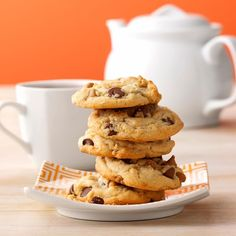 Peanut Butter Oatmeal-Chip Cookies Recipe -This is my husband's favorite, my classes' favorite, my colleagues' favorite and frankly it's my favorite too It's just plain yummy! It also makes about 11 dozen...bake sale, here we come.—Dana Chew, Okemah, Oklahoma