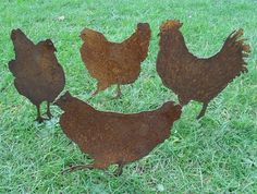 if i can't have live chickens I want these strutting my hillside ( and no early morning wake-up calls )  --- these would be great by the barn!