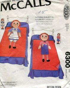 FREE US SHIP Original Uncut McCalls 6300 Raggedy Ann Andy Appliquéd Quilt Pillow Sham Small Doll Bed Bedding  Vintage Retro 1970's 70's 1978 by LanetzLivingPatterns on Etsy