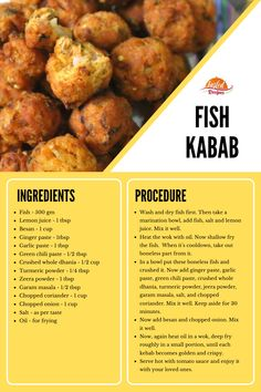 Fish Kabab is an amazing recipe and best for seafood freaks. Serve with green chutney and salad. Veg Yummy Recipes, Best Seafood Recipes, Curry Recipes, Veggie Recipes, Fish Recipes, Asian Recipes, Cooking Recipes, Kabob Recipes, Ethnic Recipes