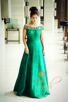 Green Is The Prime Colour Of World And That From Which It S Loveliness Arises Pure Raw Silk Off Shoulder Gown In Bottle With Zardozi Hand