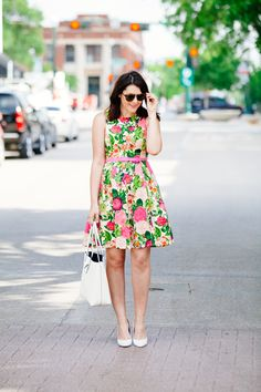 5.15 derby dress (Eliza J floral dress + Charles David pumps + Marc Jacobs tote + Karen Walker sunnies)