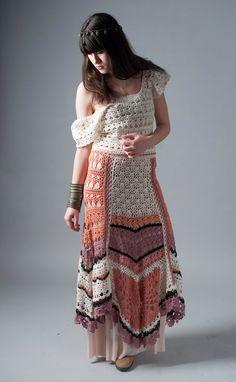 Hippie Hand Crochet Maxi Skirt Winter Cotton skirt by NaliniShop, $135.00