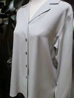 NEW Talbots Light Gray Solid Silk Blouse Career Size 8  NWT #Talbots #Blouse #Career