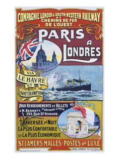 Paris to London; Paris a Londres Giclee Print at AllPosters.com