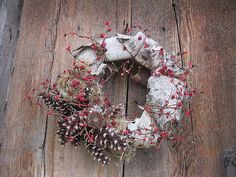 WHITE BiRCH BaRK WREATH   for  winter  home by thekeepershouse