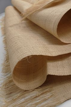 """Fine Raffia Fabric 22"""" x 60"""" Finely woven fabric made in Madagascar. Has a natural woven look. Ends are unfinished. $12"""