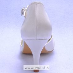 """""""Charming 3\"""" Rhinestones Bowknot Pointy Toe D'orsay - Ivory Satin Wedding Shoes (11 colors) $60.98"""""""