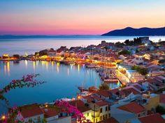 Greek Harbour at Dusk, Samos, Aegean Islands Art Print