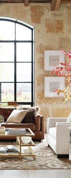 Neutral And Modern Rustic Living Room