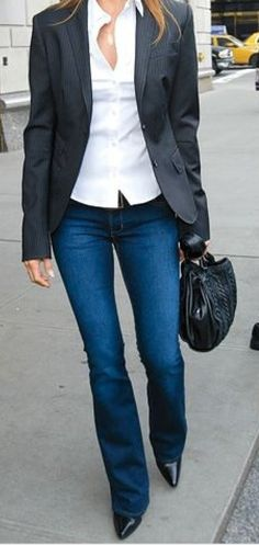 collared shirt under blazer jeans black shoes