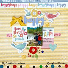Sharing a layout with the October Main Kit at My Creative Scrapbook. Lots of Amy Tangerine's new collection Oh Happy Life and sequins from Doodlebug Designs. Happy Love, Im Happy, Happy Day, Positive Mind, Positive Vibes, Scrapbook Pages, Scrapbook Layouts, Scrapbooking, Amy Tan