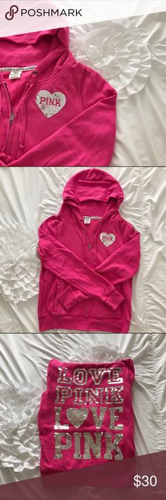 Pink zip up sweatshirt Used. Still good condition. Feel free to comment with any questions. PINK Victoria's Secret Tops Sweatshirts & Hoodies