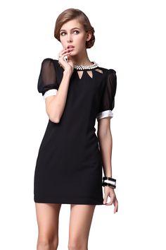 Black Short Sleeve Hollow Bead Bodycon Dress. ELIMINANDO TODAS PARTES BRANCAS FICARIA ÓTIMO!