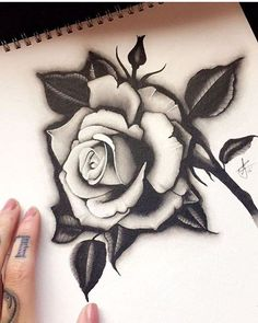 19 Gorgeous Flower Tattoos For Women Neue Tattoos, Body Art Tattoos, Girl Tattoos, Sleeve Tattoos, Tattoo Girls, Rose Drawing Tattoo, Tattoo Sketches, Sketch Drawing, Flower Tattoo Drawings