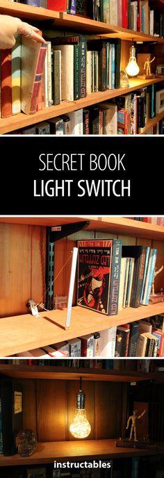 Secret Book Switch #wiring #lighting #DIY #lightswitch #secret