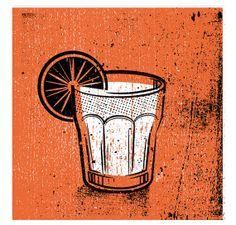 "Orange Cocktail Drink Set - Silkscreen Artprint 8"" x 8"" by twoarms | Etsy"